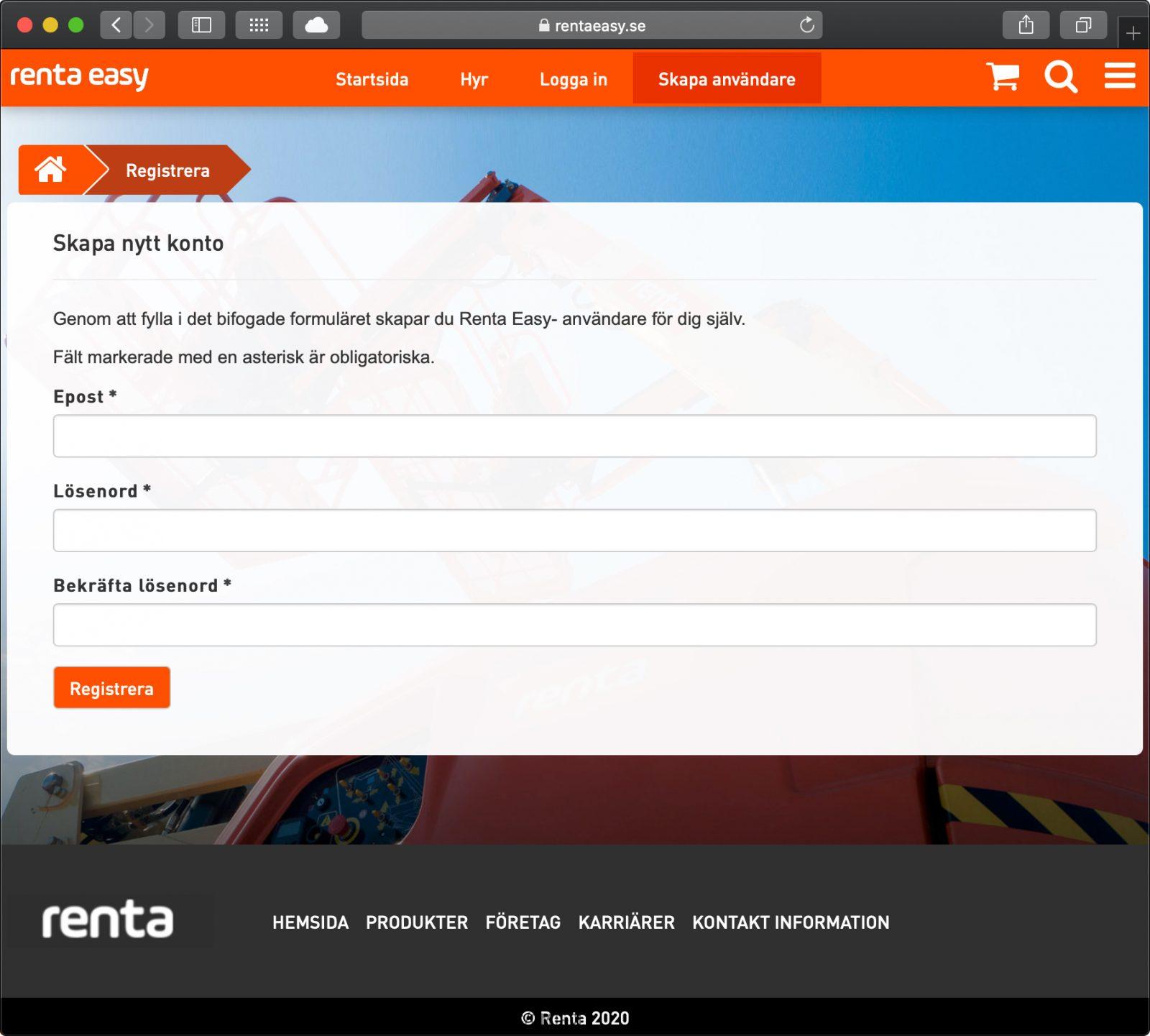 Renta Easy app för maskinuthyrning